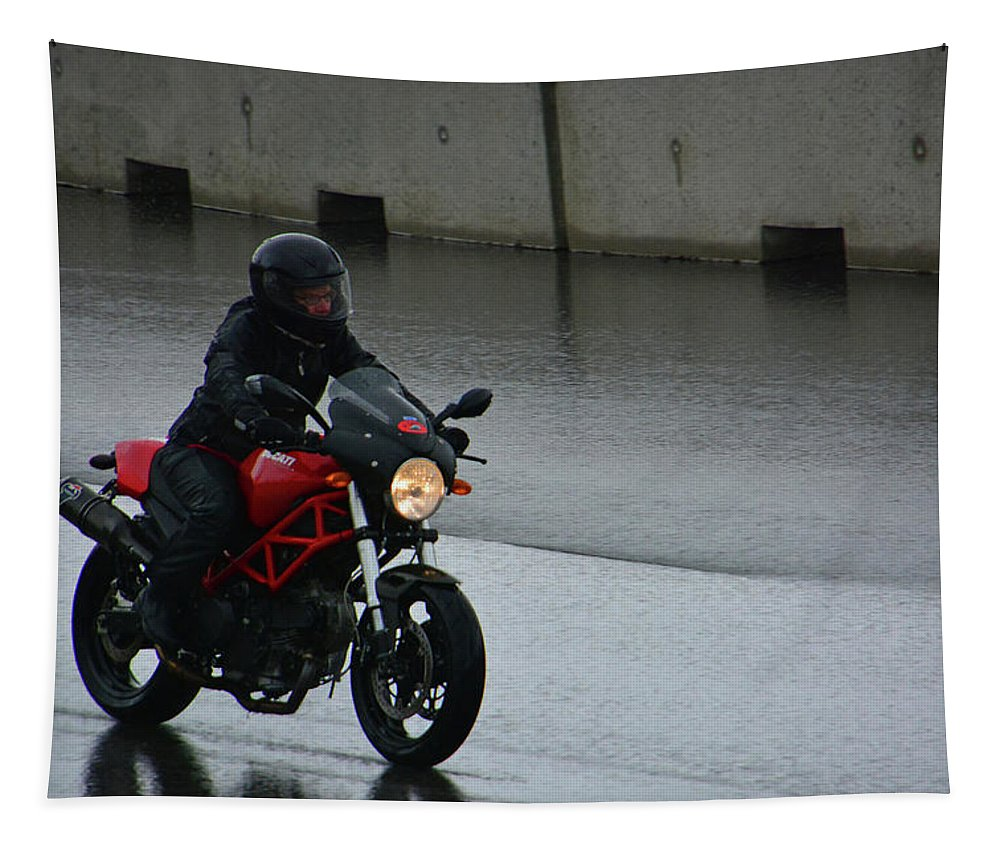 Ducatti Tapestry featuring the photograph Ducatti In The Rain by Mike Martin