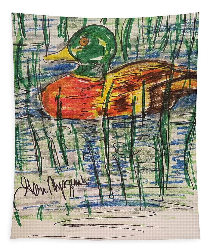 Ducks Tapestry featuring the painting Duck Decoy by Geraldine Myszenski