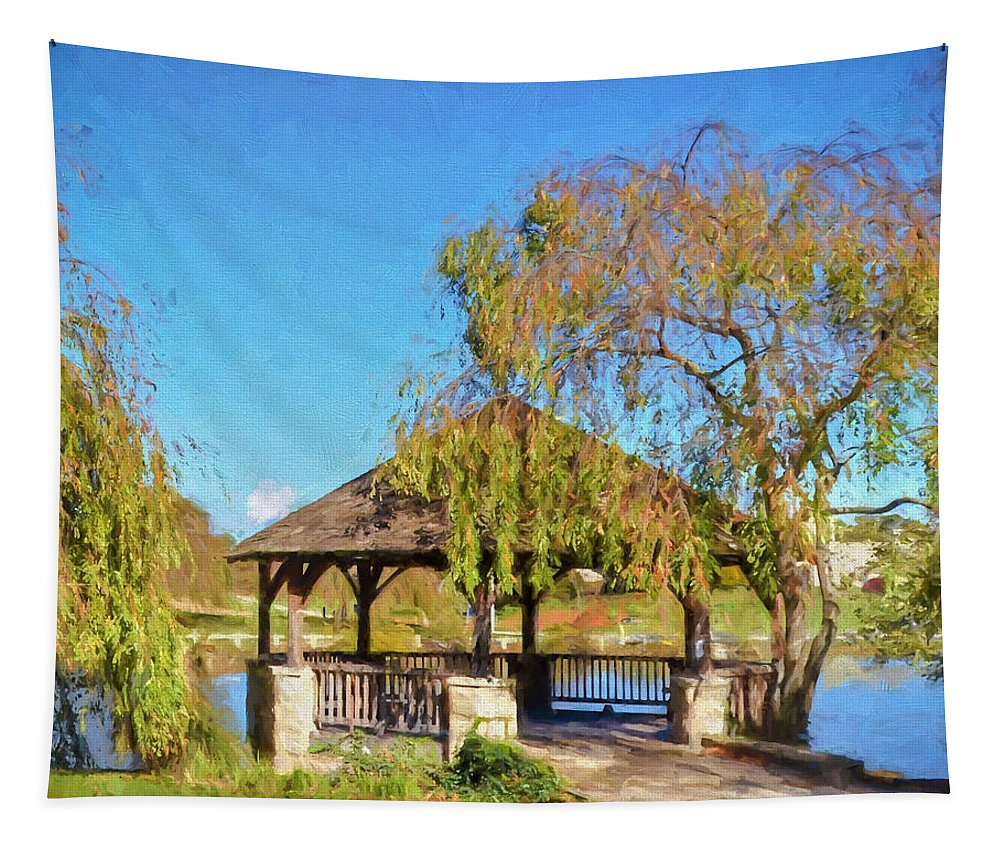 Duck Pond Gazebo Tapestry featuring the painting Duck Pond Gazebo At Virginia Tech by Kerri Farley