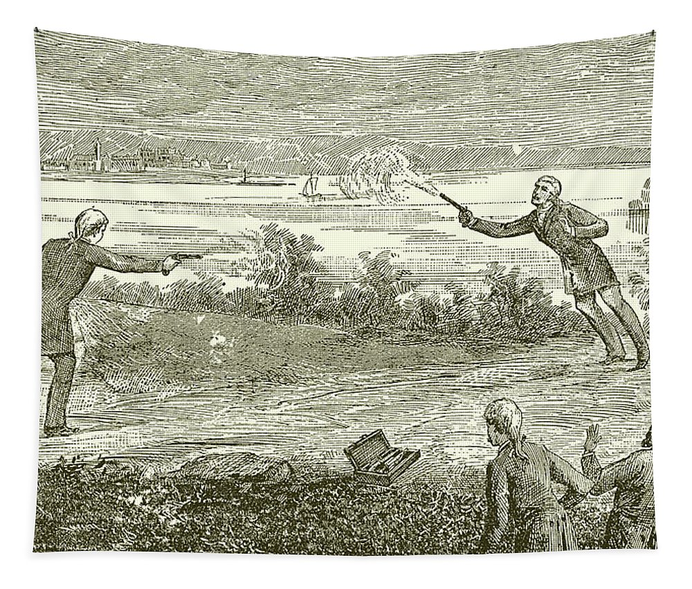 Duel Tapestry featuring the drawing Duel Between Alexander Hamilton And Aaron Burr by American School