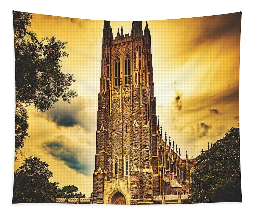 Duke University Tapestry featuring the photograph Duke University Chapel At Dusk by Library Of Congress
