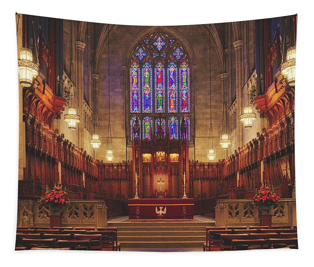 Duke University Tapestry featuring the photograph Duke University Chapel Sanctuary by Library Of Congress