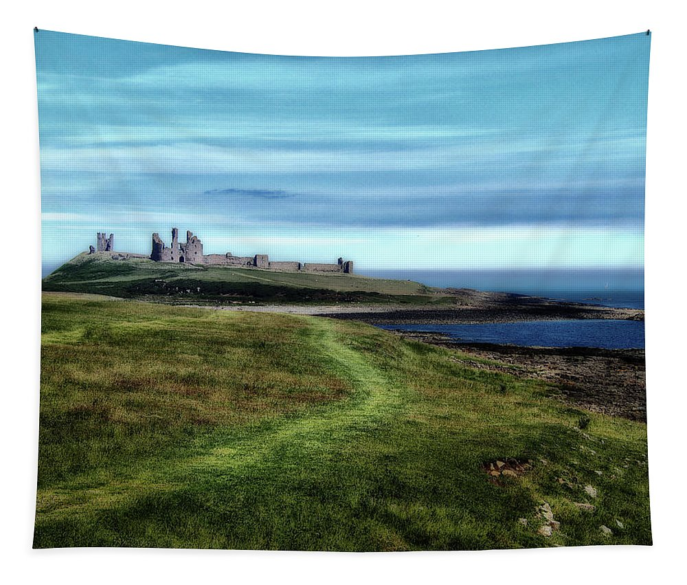 Castle Tapestry featuring the photograph Dunstanburgh Castle by Philip Openshaw