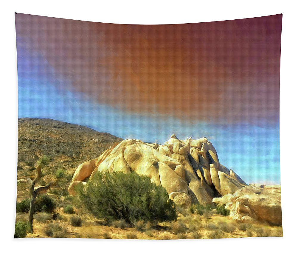 Dust Storm Tapestry featuring the painting Dust Storm Over Joshua Tree by Dominic Piperata
