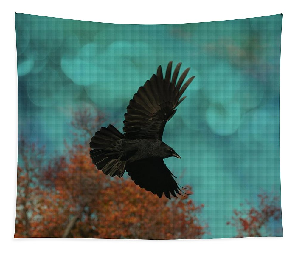Autumn Leaves Tapestry featuring the photograph Early Autumn Flight by Gothicrow Images