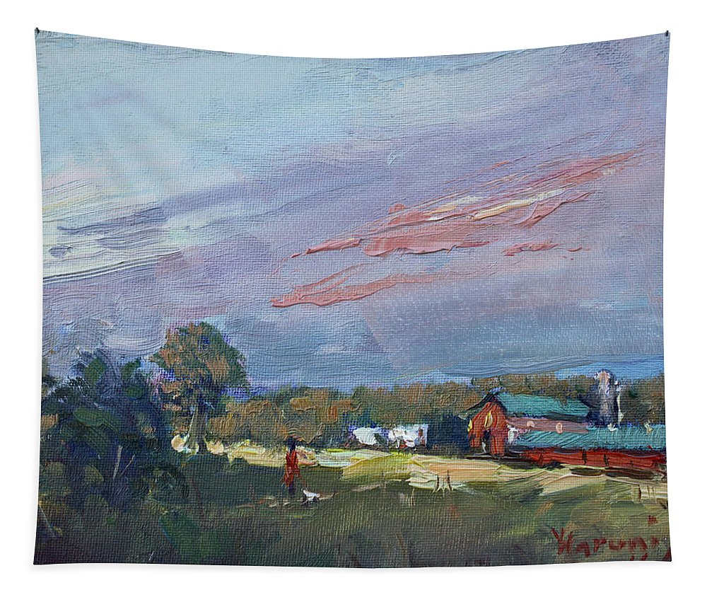Evening Tapestry featuring the painting Early Evening At Phil's Farm by Ylli Haruni