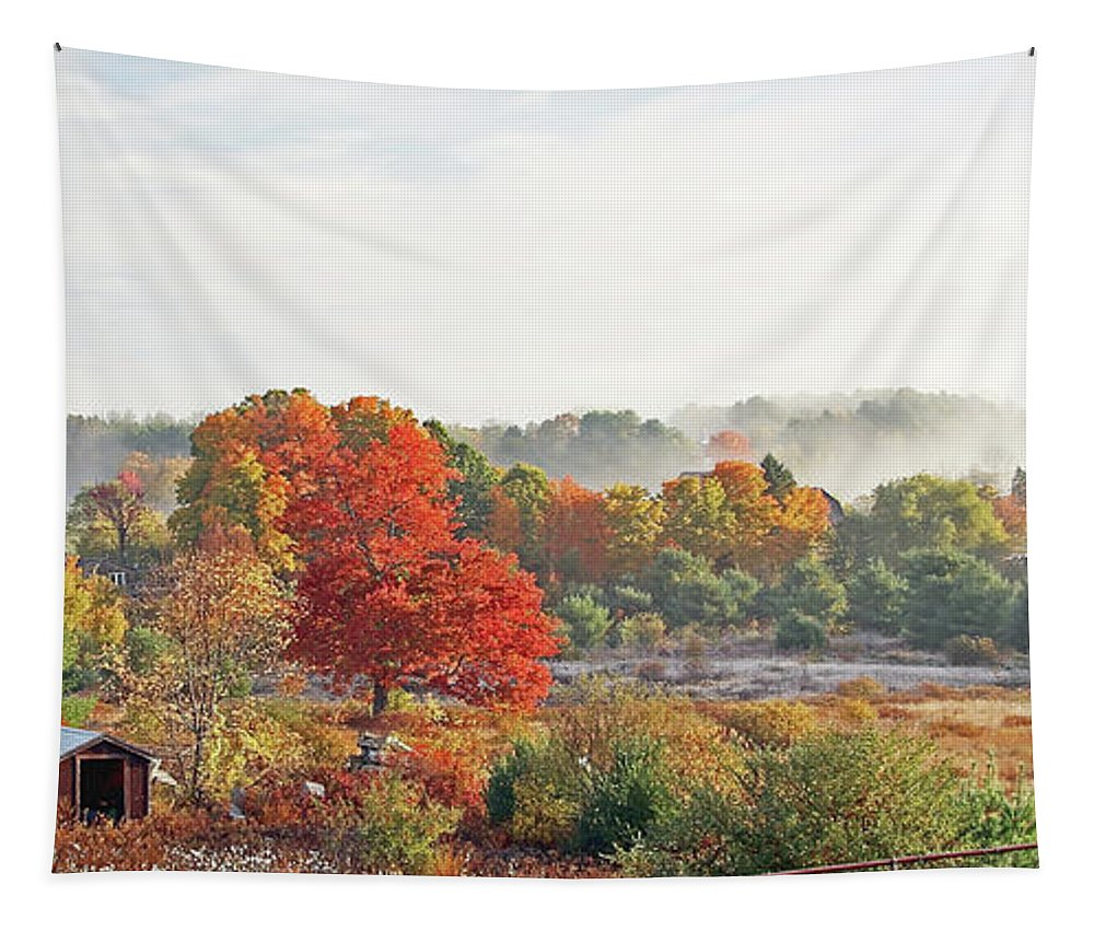 Red Tapestry featuring the photograph Early Fall Morning by Laura Mace Rand