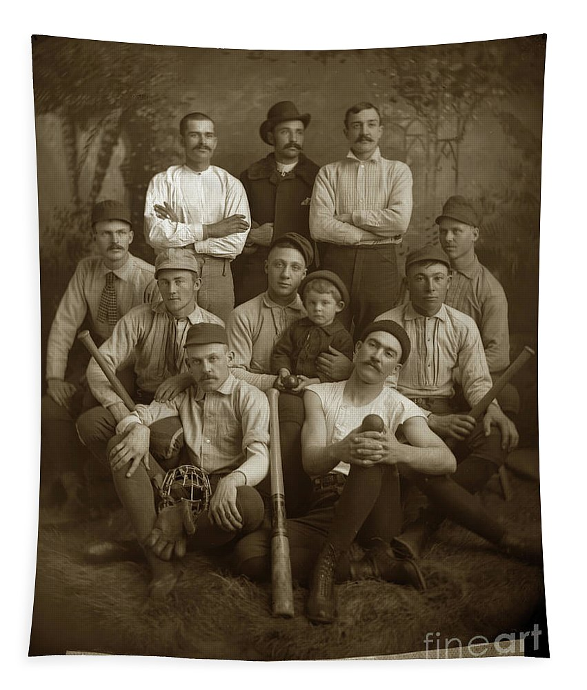 Early Monterey Baseball Team Circa 1895 Tapestry featuring the photograph Early Monterey Baseball Team Circa 1895 by California Views Archives Mr Pat Hathaway Archives