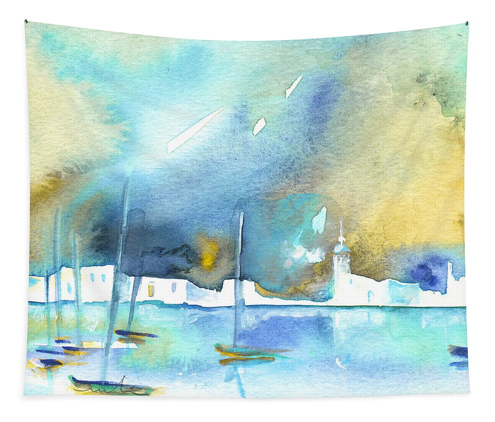 Watercolour Landscape Tapestry featuring the painting Early Morning 19 by Miki De Goodaboom