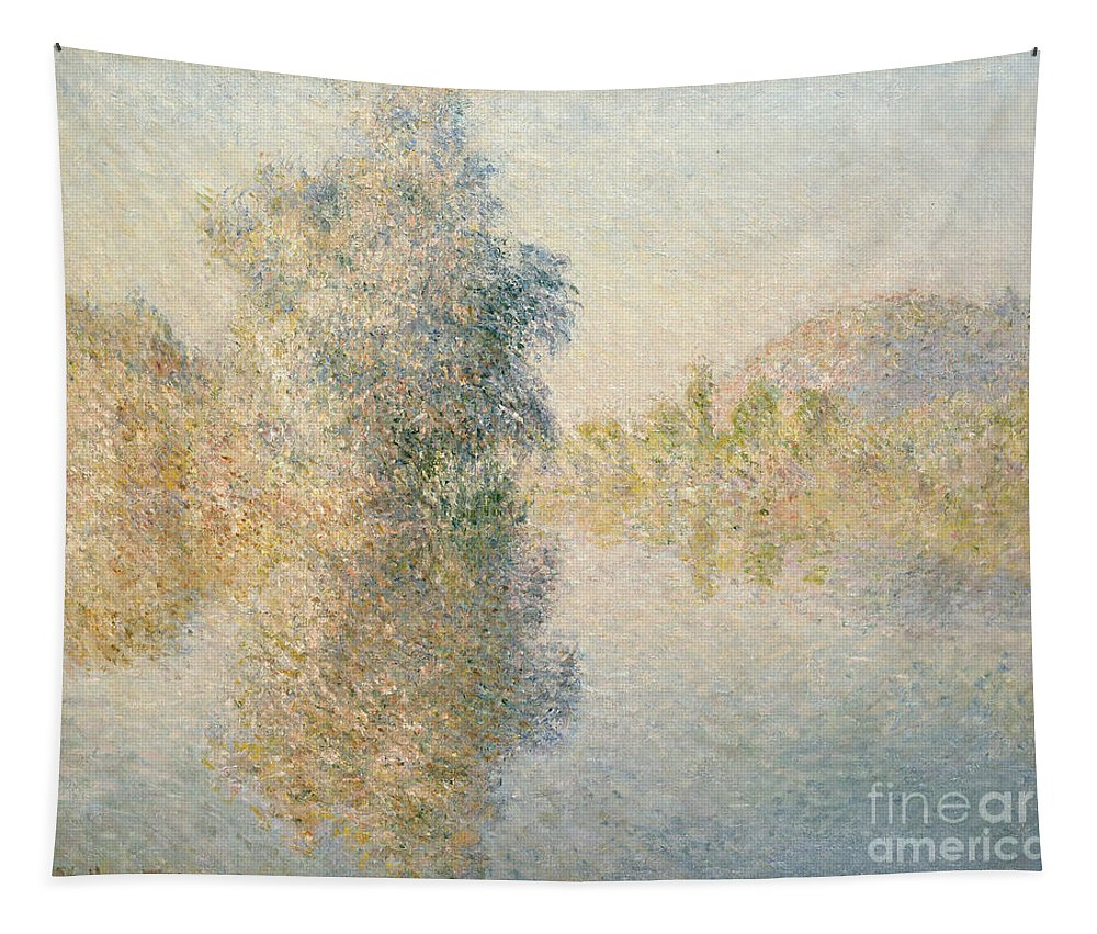 Impressionism; Impressionist; Landscape; River; Tree; Reflection; Water; French Tapestry featuring the painting Early Morning On The Seine At Giverny by Claude Monet