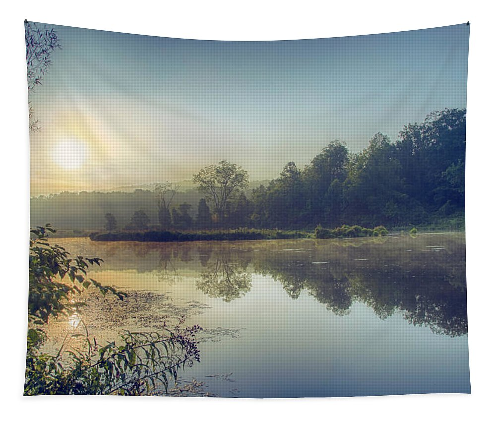 Paulinskill Tapestry featuring the photograph Early Morning Sunrise by Eleanor Bortnick