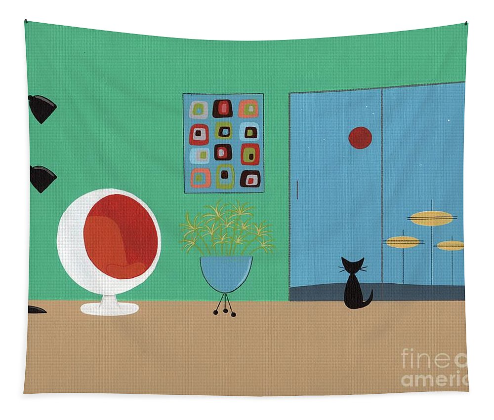 Tapestry featuring the digital art Early Painting Mid Century Room by Donna Mibus