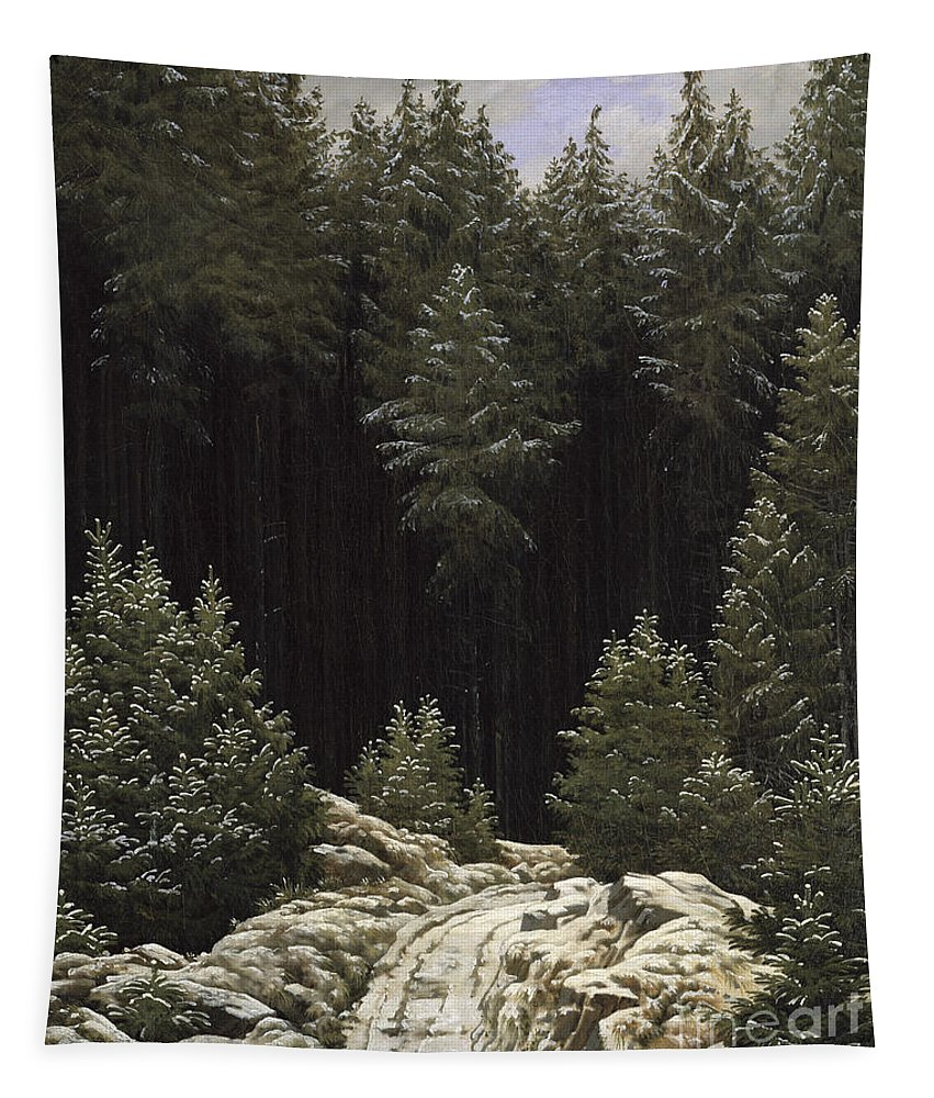 Early Tapestry featuring the painting Early Snow by Caspar David Friedrich