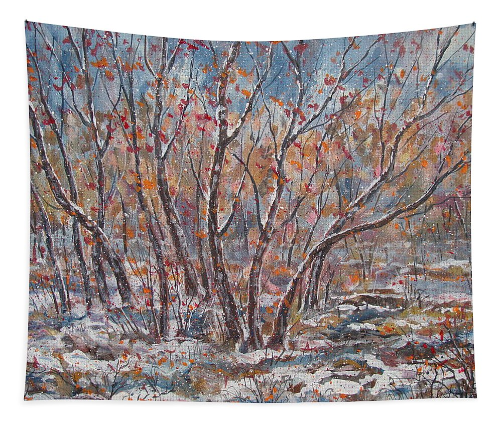 Landscape Tapestry featuring the painting Early Snow. by Leonard Holland