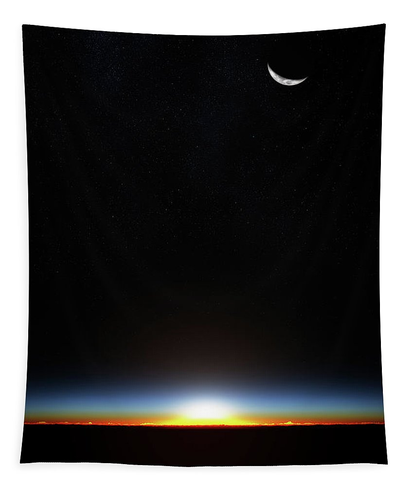 Planet Tapestry featuring the photograph Earth Sunrise Through Atmoshere by Johan Swanepoel