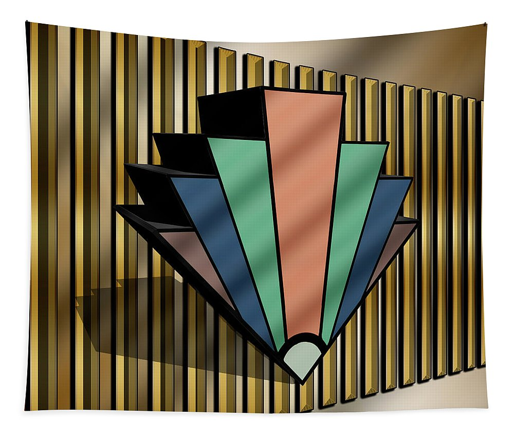 Earth Tones Tapestry featuring the digital art Earth Tones Chevron 3 D by Chuck Staley