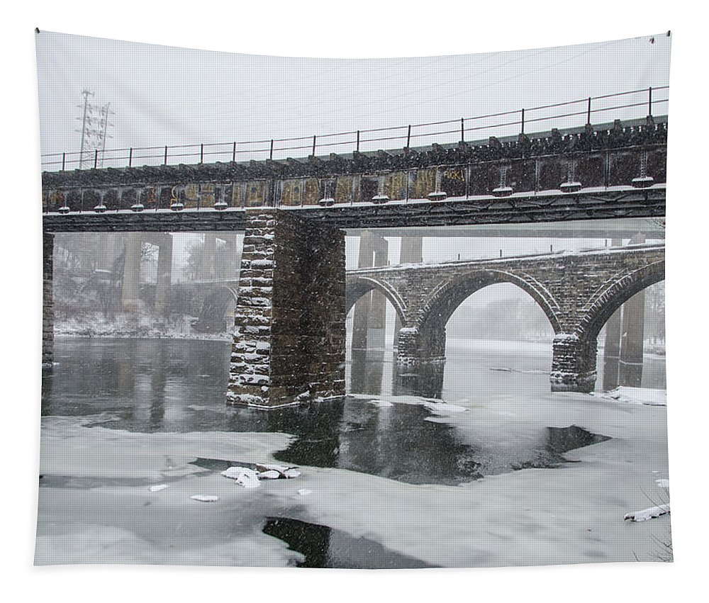 East Tapestry featuring the photograph East Falls - The Frozen Schuylkill River by Bill Cannon