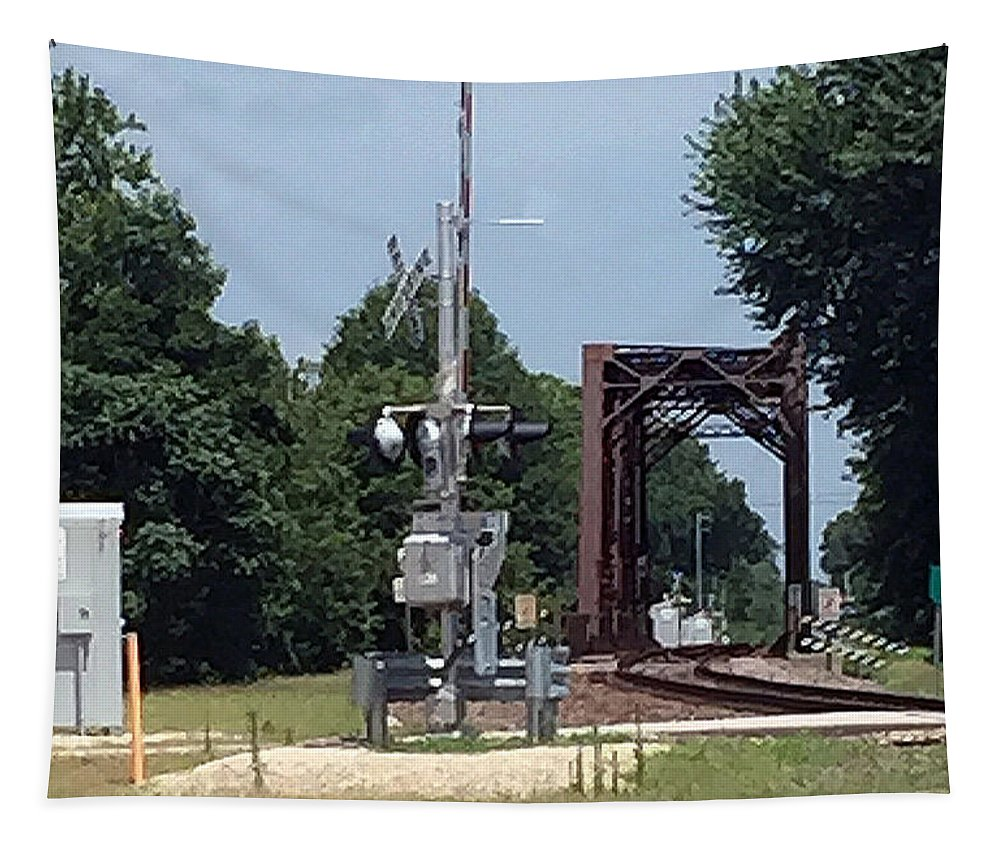 Railroad Trestle Tapestry featuring the photograph Eastbound Trestle by James Pinkerton