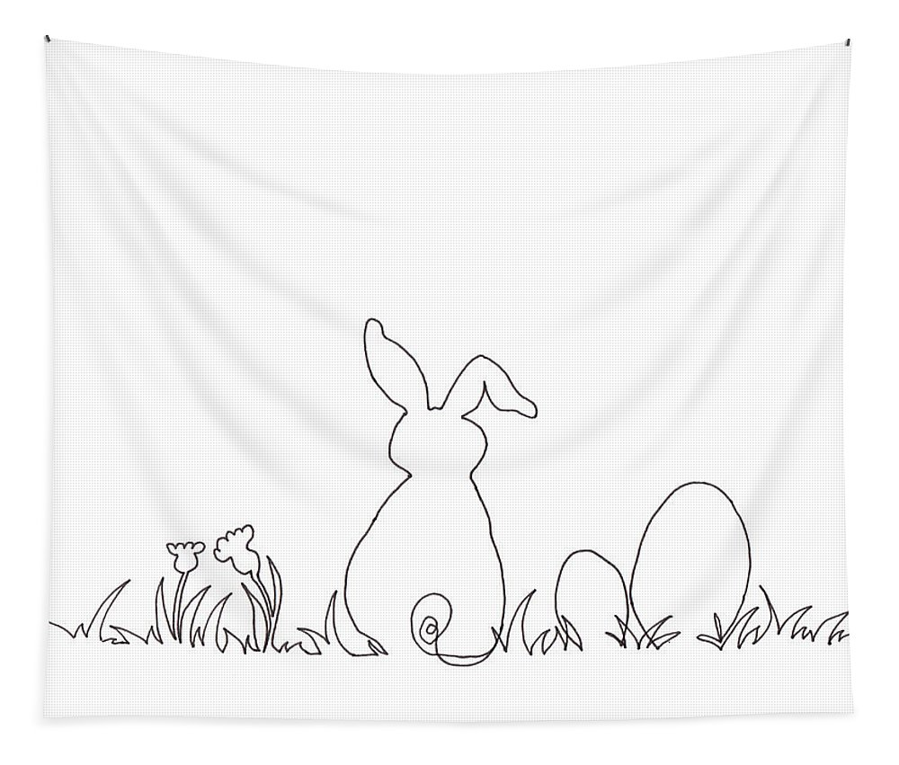 Easter Bunny Tapestry featuring the drawing Easter Bunny Card Pen And Ink Drawing by Karen Kaspar