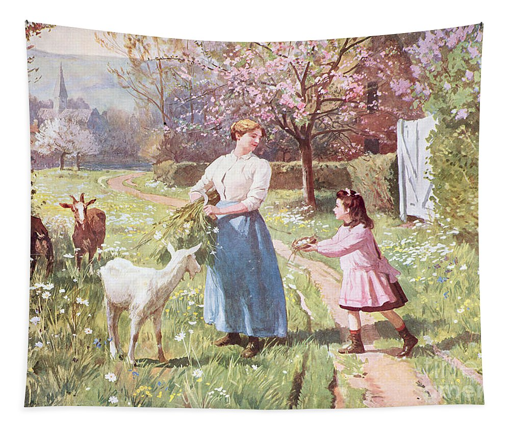 Easter Tapestry featuring the painting Easter Eggs In The Country by Victor Gabriel Gilbert