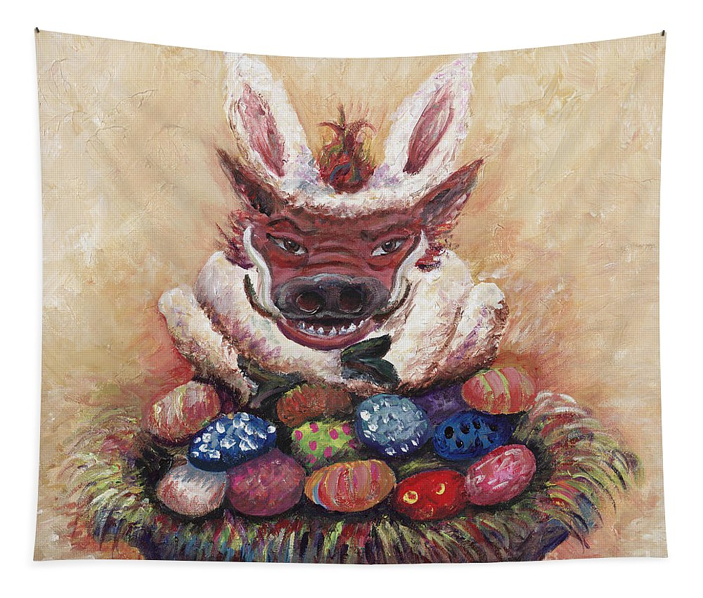 Easter Tapestry featuring the painting Easter Hog by Nadine Rippelmeyer