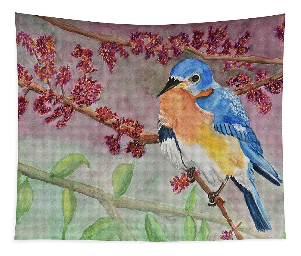 Linda Brody Tapestry featuring the painting Eastern Bluebird by Linda Brody