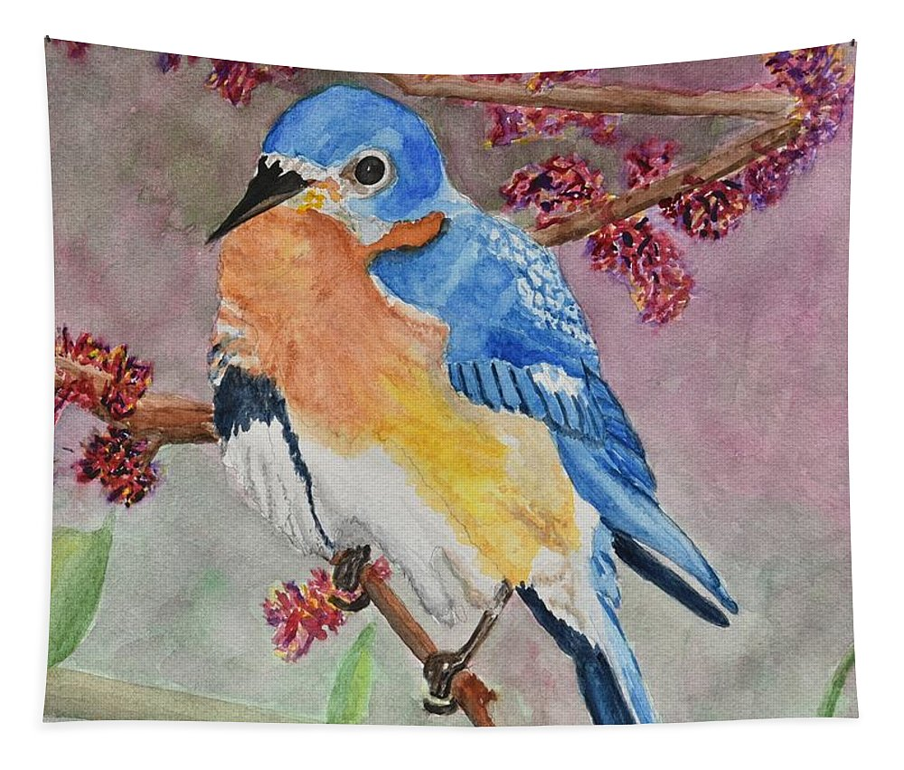 Linda Brody Tapestry featuring the painting Eastern Bluebird Vertical by Linda Brody