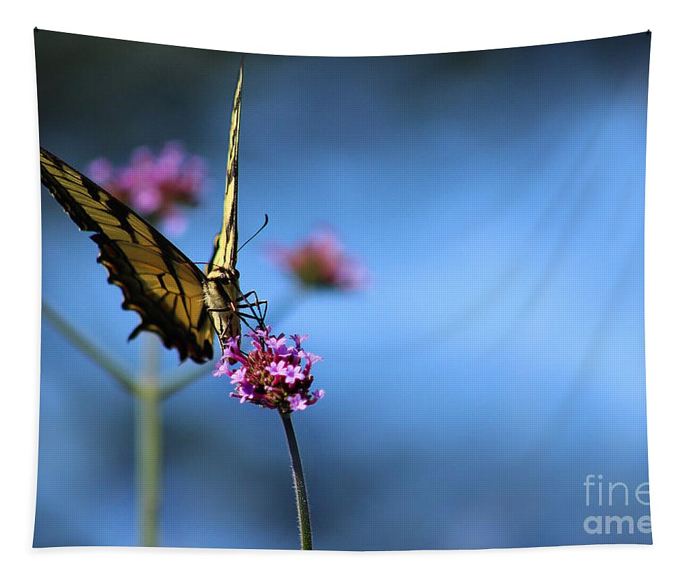 Tiger Tapestry featuring the photograph Eastern Tiger Swallowtail And Blue Sky by Karen Adams