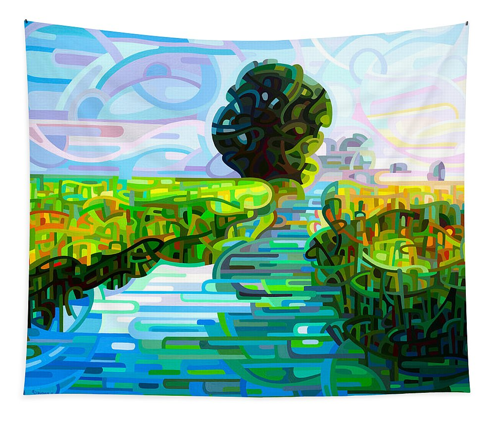 Abstract Tapestry featuring the painting Ebb And Flow by Mandy Budan