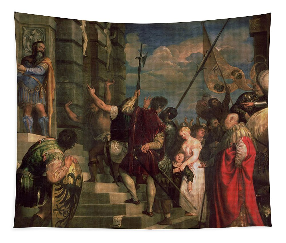 Titian Tapestry featuring the painting Ecce Homo, 1543 by Titian