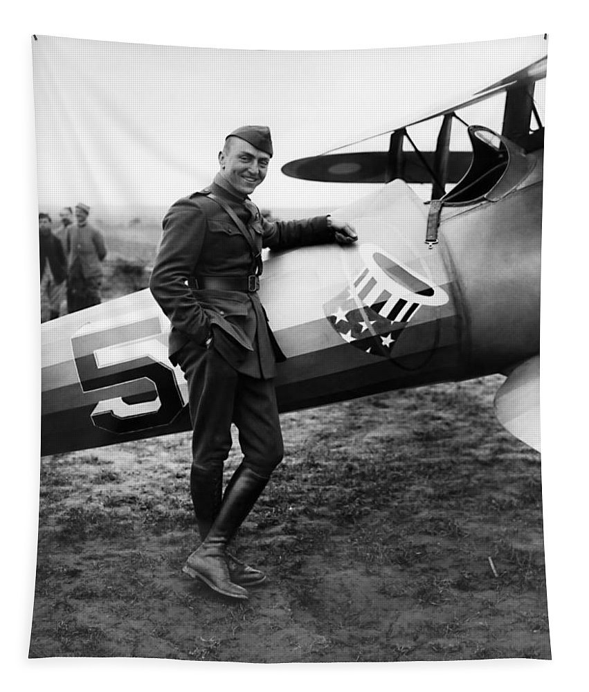 Eddie Rickenbacker Tapestry featuring the photograph Eddie Rickenbacker - Ww1 American Air Ace by War Is Hell Store
