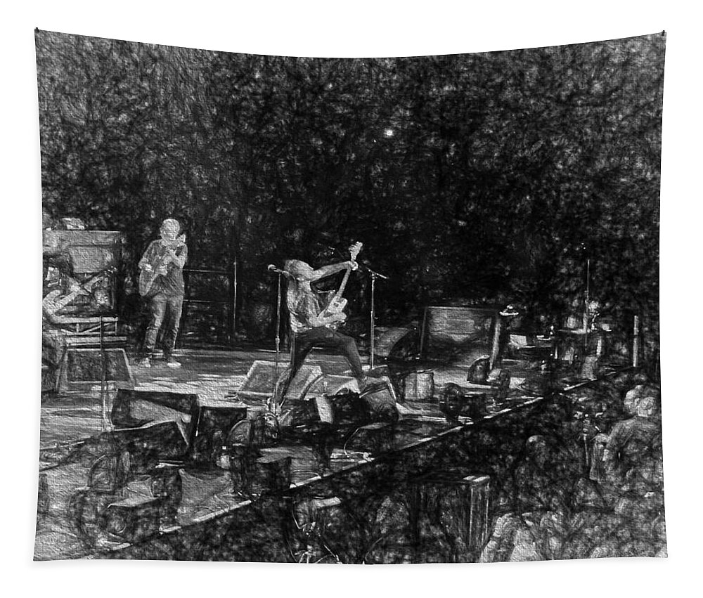 Eddie Tapestry featuring the photograph Eddie Vedder Rock God Pose Pearl Jam by Toby McGuire