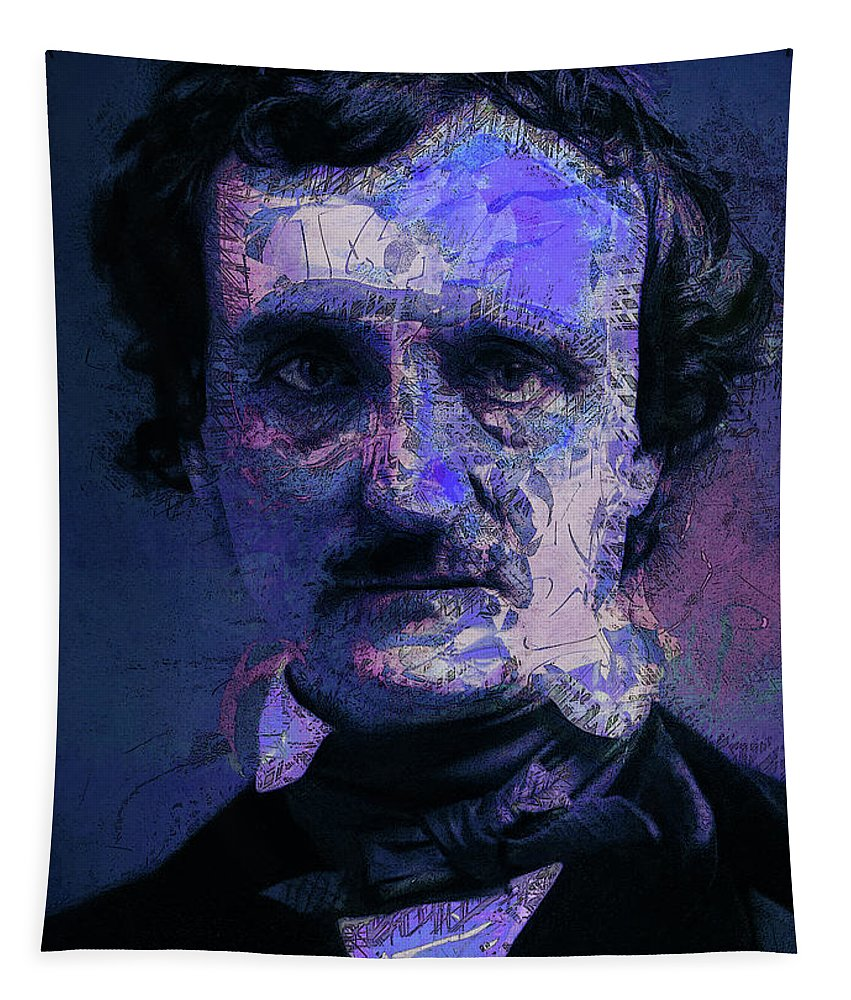 Poe Tapestry featuring the digital art Edgar Allan Poe, Artsy 1 by Joy McKenzie