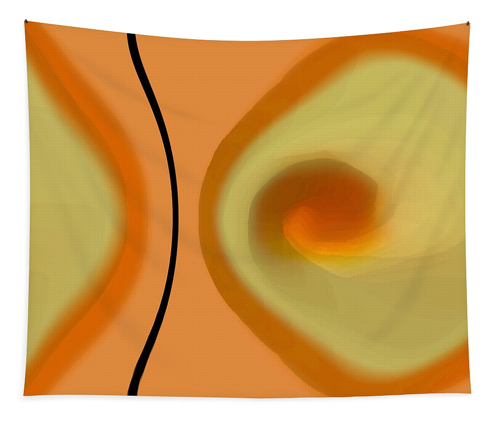 Orange Abstract Tapestry featuring the digital art Egg On Broken Plate by Ben and Raisa Gertsberg