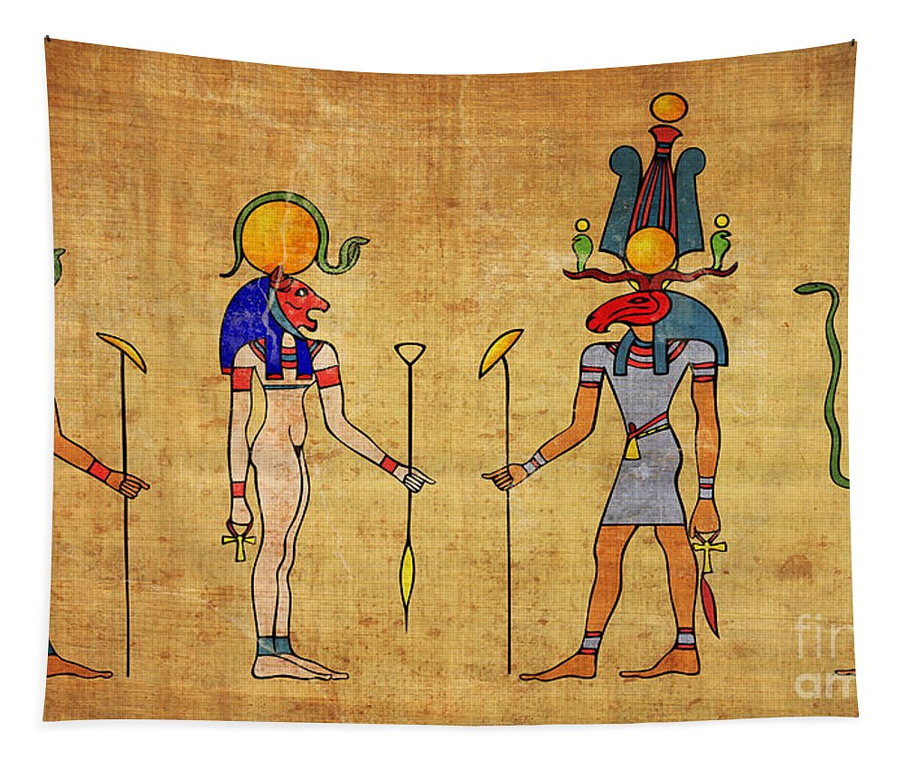 Egypt Tapestry featuring the digital art Egyptian Gods And Goddness by Michal Boubin