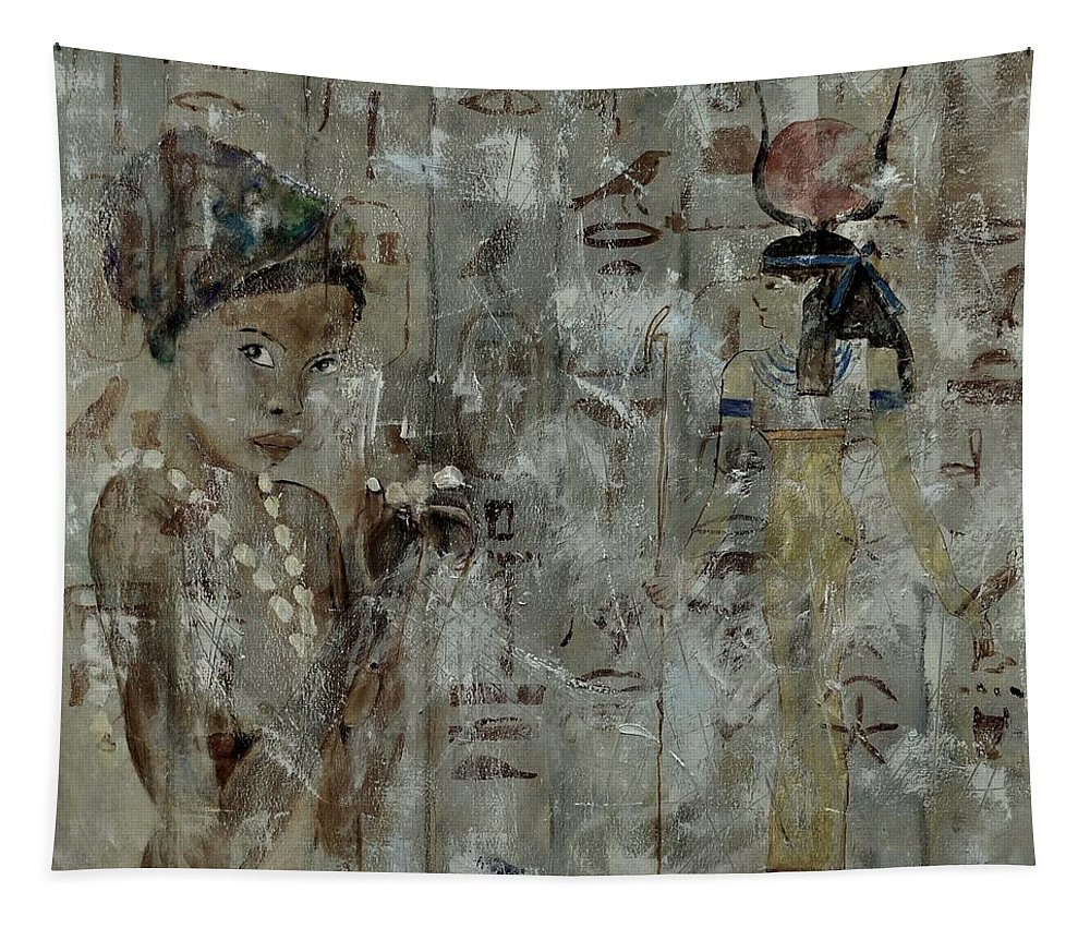 World Culture Tapestry featuring the painting Egyptian Memories by Pol Ledent