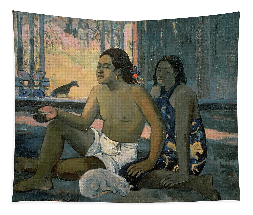 Eiaha Ohipa Or Tahitians In A Room Tapestry featuring the painting Eiaha Ohipa Or Tahitians In A Room by Paul Gauguin