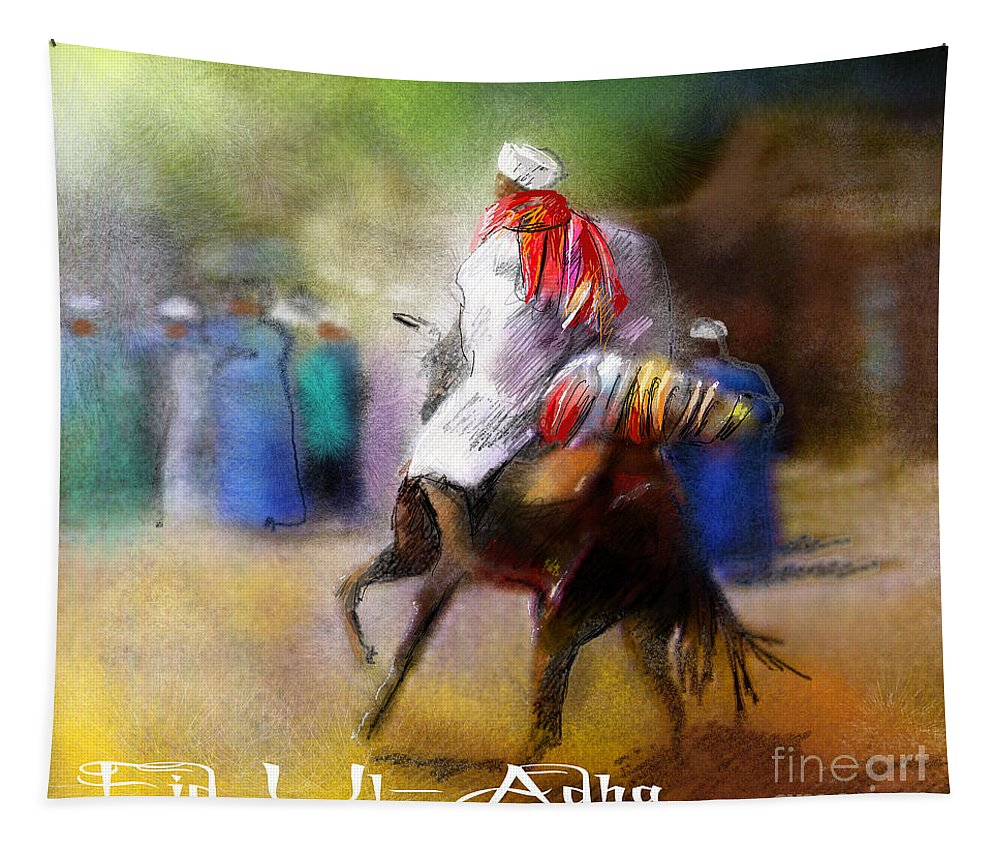 Eid Ul Adha Sheep Painting Festival Of Sacrifice Horses Knight Tapestry featuring the painting Eid Ul Adha Festivities by Miki De Goodaboom