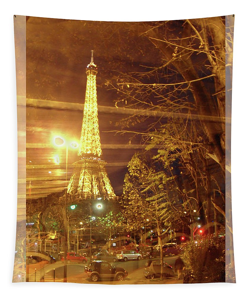 Paris Tapestry featuring the photograph Eiffel Tower By Bus Tour Greeting Card Poster by Felipe Adan Lerma