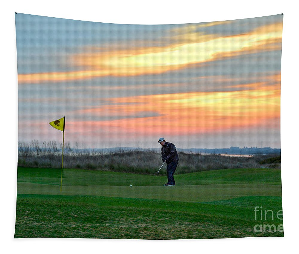 Golf Course Tapestry featuring the photograph Eighteenth Green At Sunset by Catherine Sherman