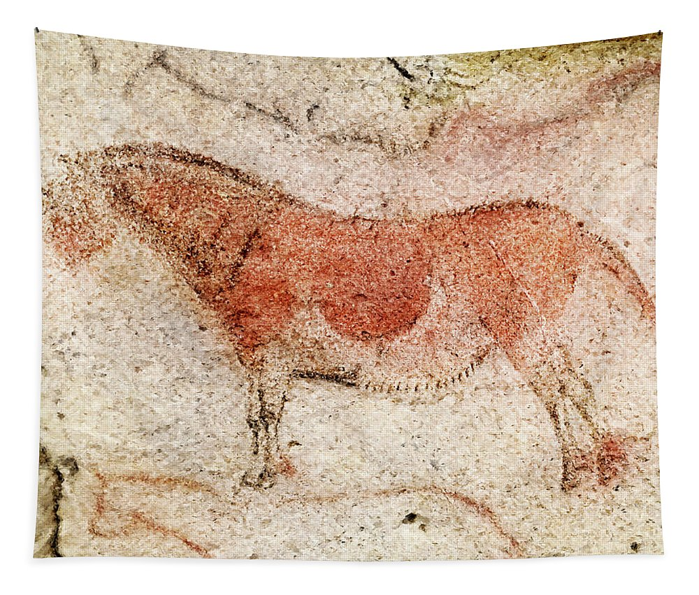 Ekain Horse Tapestry featuring the photograph Ekain Cave Horse 2 by Weston Westmoreland