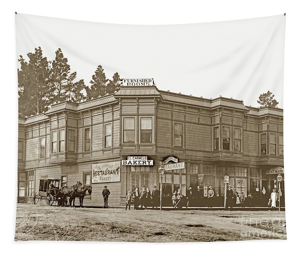 El Carmelo Bakery Tapestry featuring the photograph El Carmelo Bakery Lighthouse And Forest Ave. Circa 1890 by California Views Archives Mr Pat Hathaway Archives