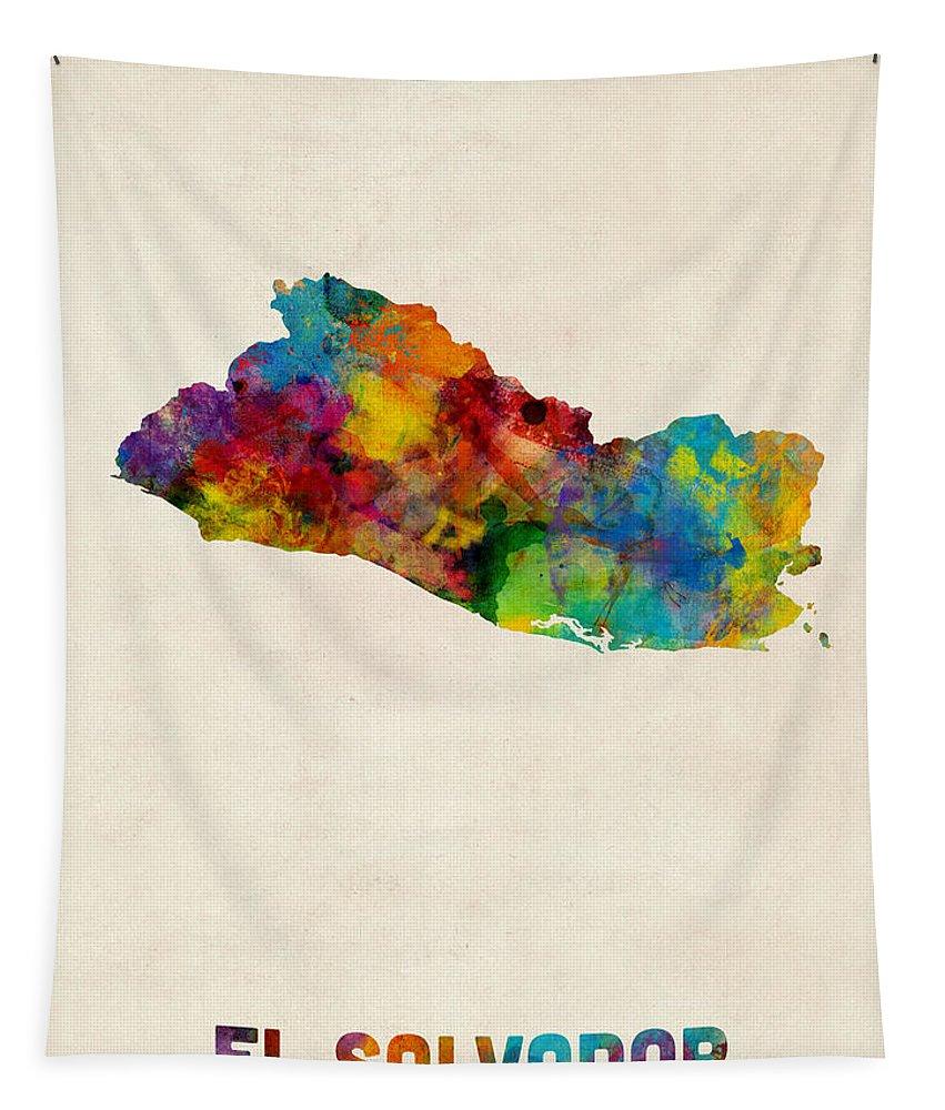 Map Art Tapestry featuring the digital art El Salvador Watercolor Map by Michael Tompsett