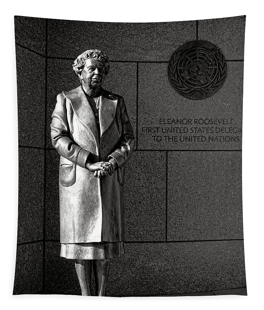 First Tapestry featuring the photograph Eleanor Roosevelt Sculpture by Olivier Le Queinec