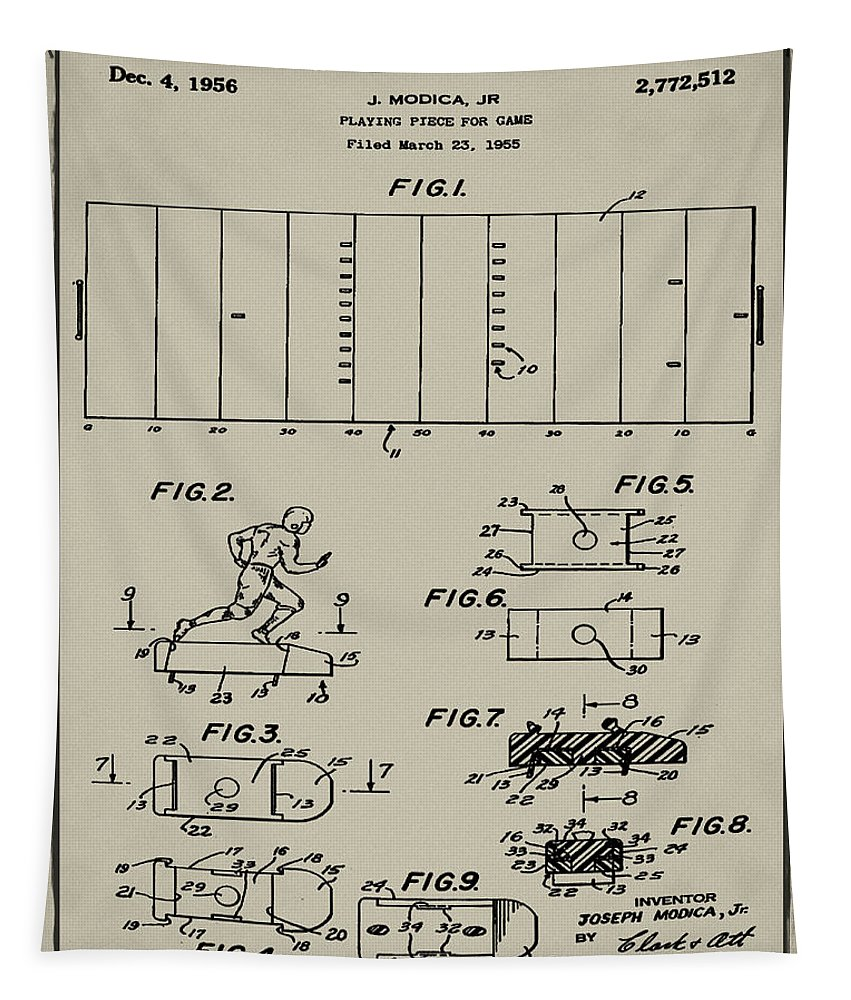 Electric Tapestry featuring the photograph Electric Football Patent 1955 Aged Gray by Bill Cannon