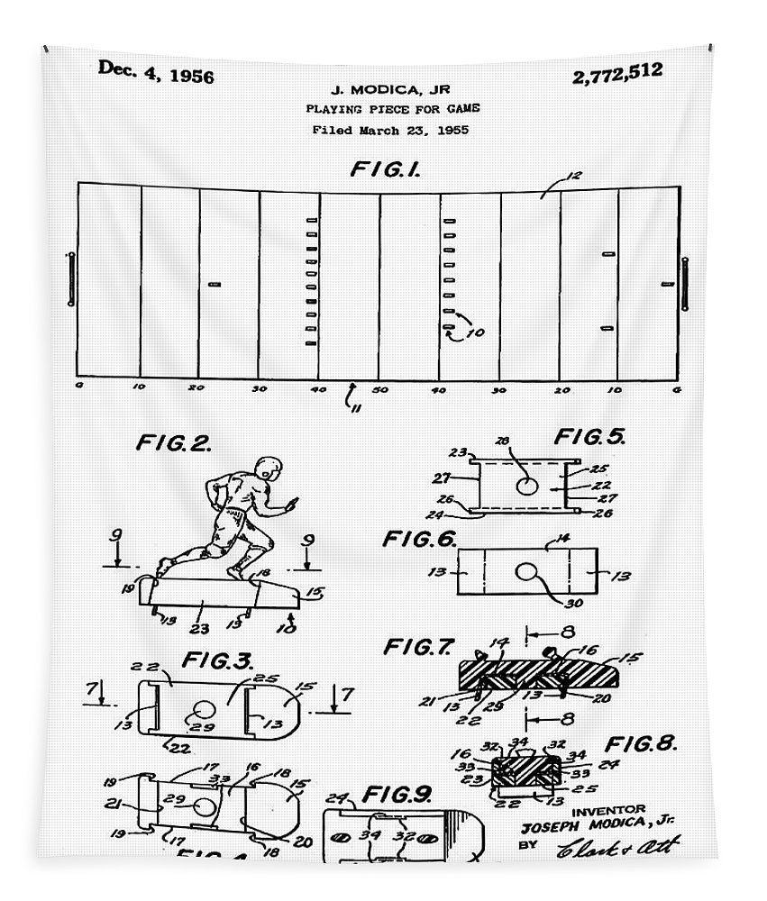 Electric; Football; Patent; 1955; Sepia; Black; Blue; Blueprint; Print; Aged; Gray; Bill Cannon Photography Tapestry featuring the photograph Electric Football Patent 1955 by Bill Cannon