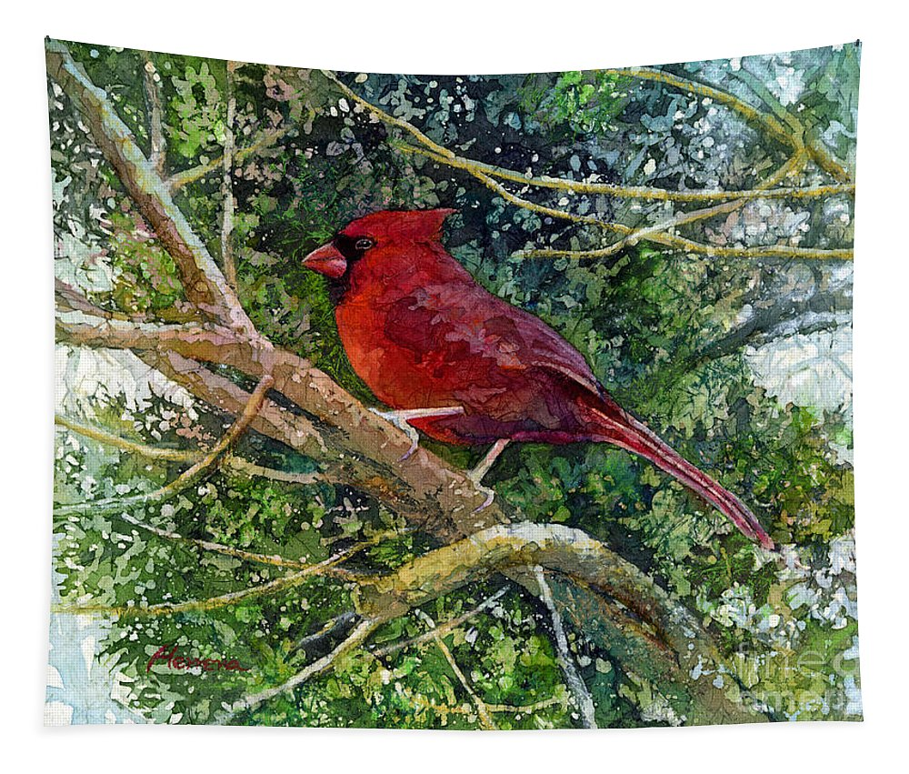 Cardinal Tapestry featuring the painting Elegance In Red by Hailey E Herrera