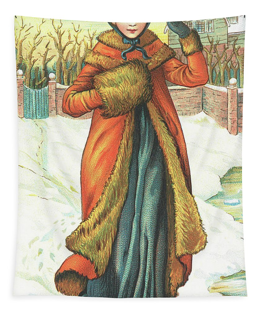 Greetings Tapestry featuring the painting Elegant Lady In Snow, Christmas Card by English School