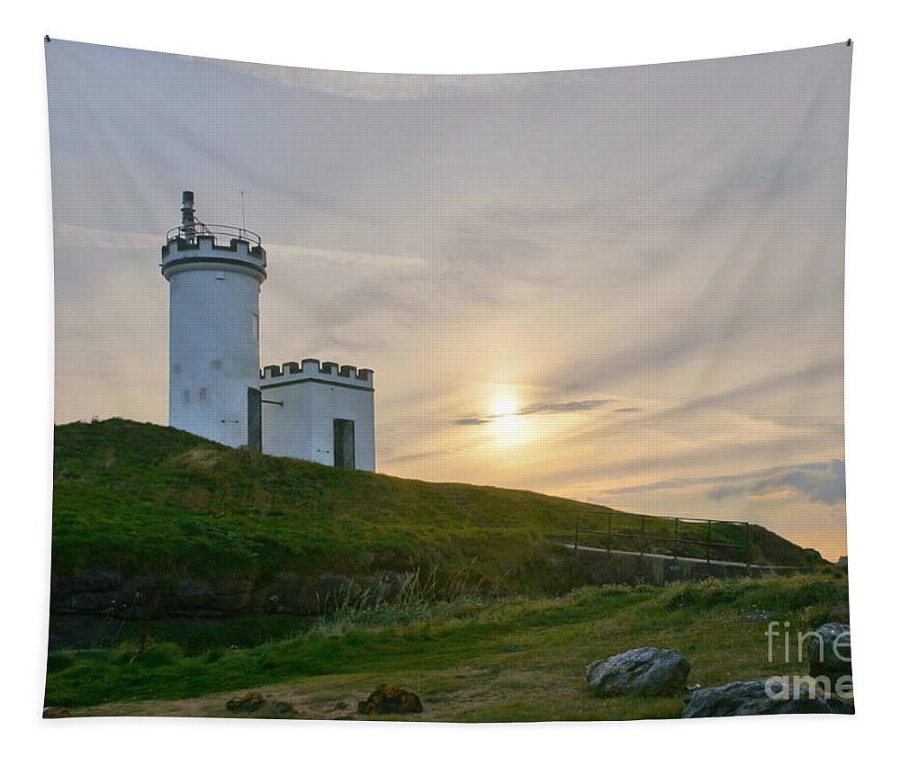 Elie Lighthouse Tapestry featuring the photograph Elie Lighthouse. Late Afternoon. by Elena Perelman