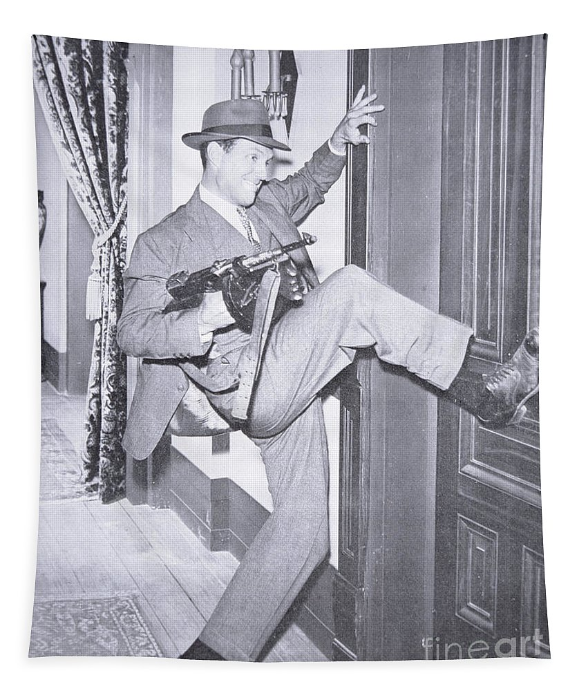 Robert Stack (1919-2003) As Eliot Ness In The Film Scarface Mob 1959 (b/w Photo) Story Tapestry featuring the photograph Eliot Ness by Unknown